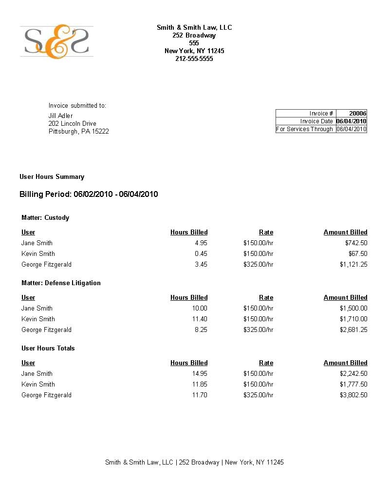 billable hours invoice template