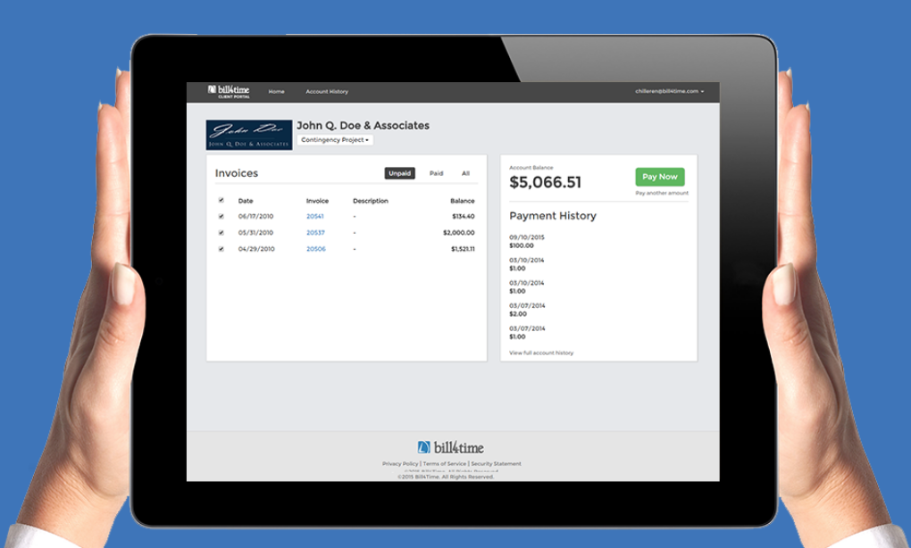 Bill4Time Client Portal Dashboard Image