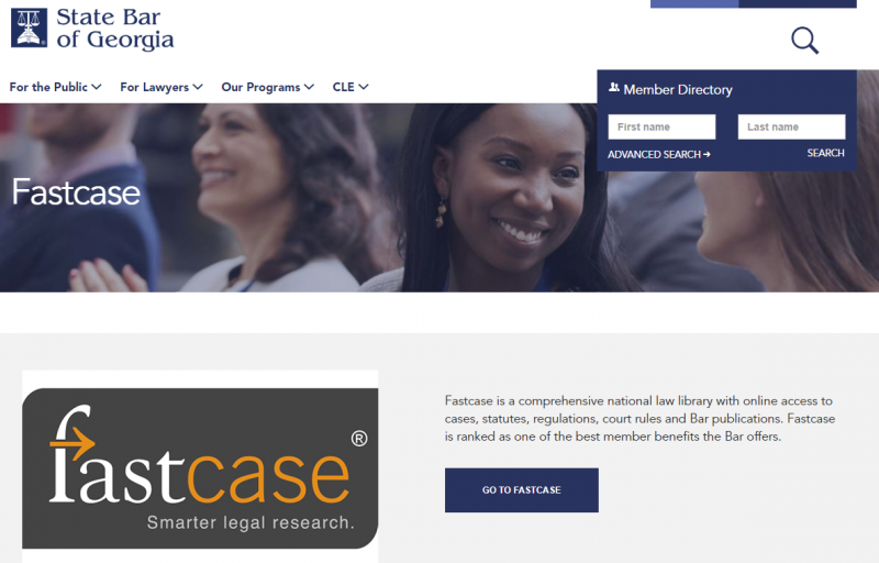 Fastcase: an example of a licensed state bar association resource with educational materials