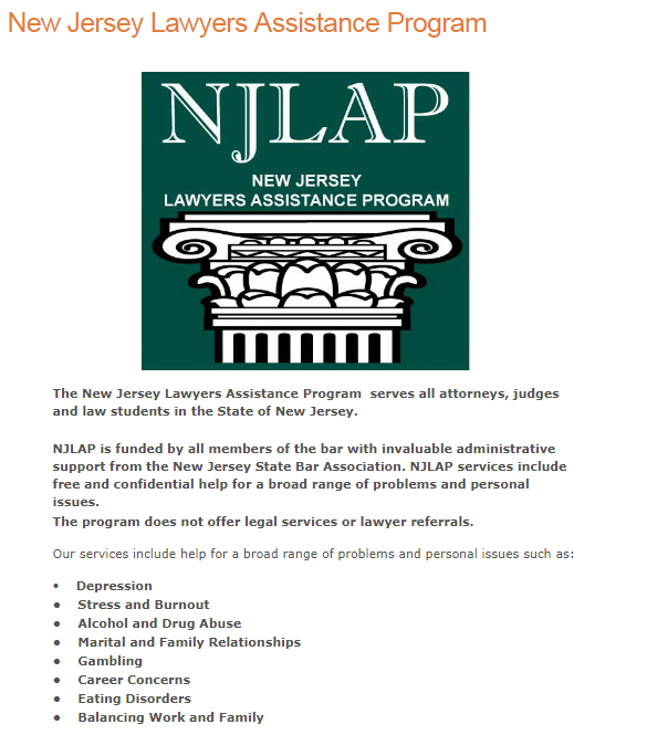 NJ Assistance programs offered by the New Jersey State Bar Association