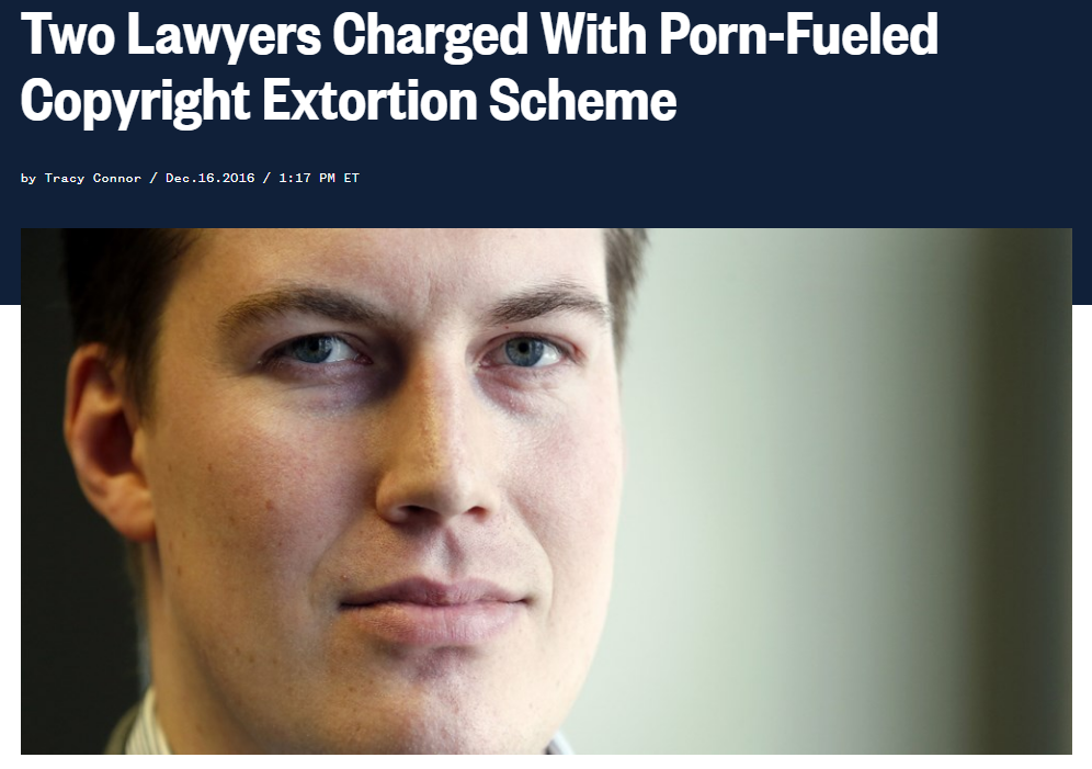 Transformative example: Two Lawyers Charged With Porn Fueled Copyright Extortion Scheme