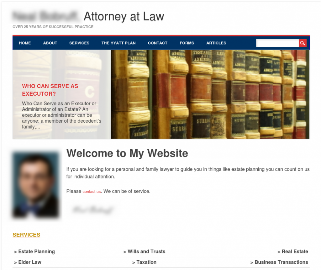 establishing your law practice: poor example - generic lawyer website homepage