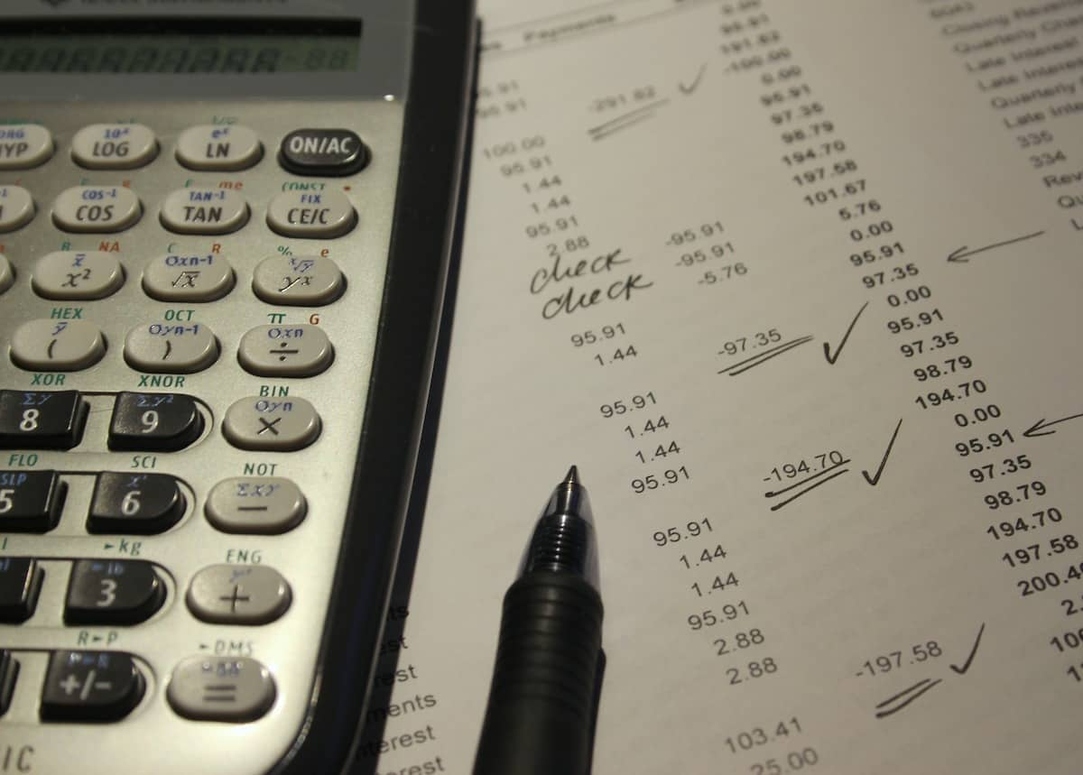 online payments - accounting ledger with calculator