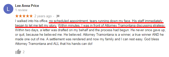 Positive Google Review for attorney Tramontana