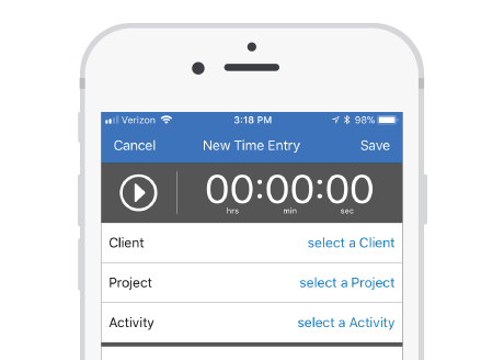 Bill4Time's flexible time tracking on mobile devices.