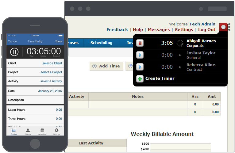 Track all your time; billable and non-billable, anywhere, anytime.